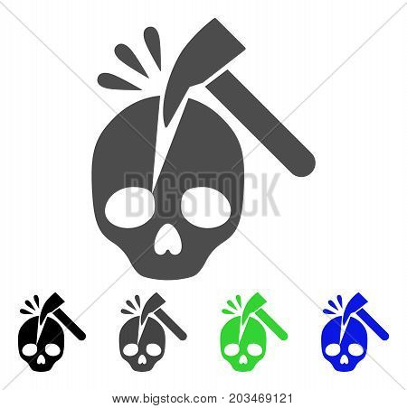 Break Skull icon. Vector illustration style is a flat iconic break skull symbol with black, grey, green, blue color versions. Designed for web and software interfaces.