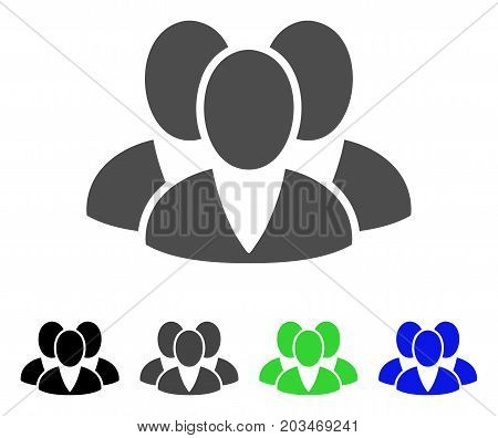 Clients icon. Vector illustration style is a flat iconic clients symbol with black, gray, green, blue color variants. Designed for web and software interfaces.