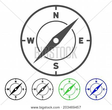 Compass icon. Vector illustration style is a flat iconic compass symbol with black, grey, green, blue color variants. Designed for web and software interfaces.