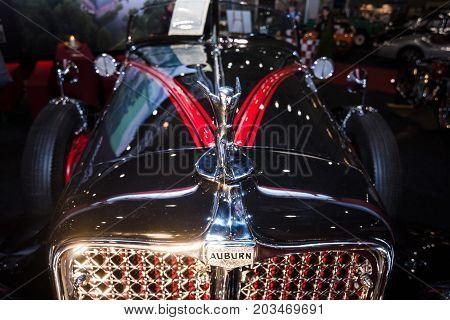 MAASTRICHT NETHERLANDS - JANUARY 09 2015: Hood ormament of a Auburn 8-100 Boattail Speedster Straight Eight 1931. International Exhibition InterClassics & Topmobiel 2015