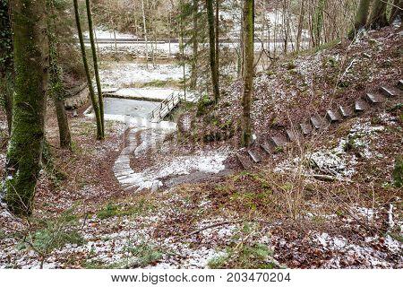 bridge in Luxembourg's Little Switzerland whit waterfall