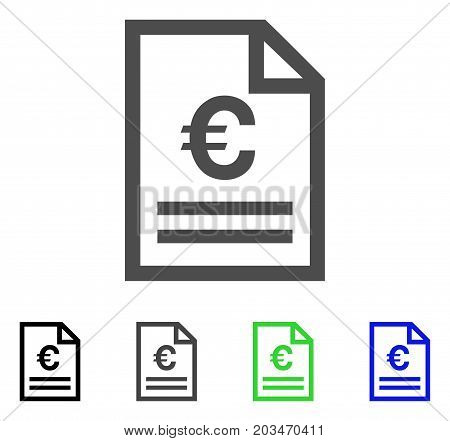 Euro Invoice Page icon. Vector illustration style is a flat iconic euro invoice page symbol with black, gray, green, blue color versions. Designed for web and software interfaces.