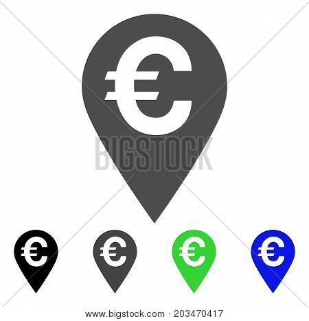 Euro Map Marker icon. Vector illustration style is a flat iconic euro map marker symbol with black, grey, green, blue color versions. Designed for web and software interfaces.