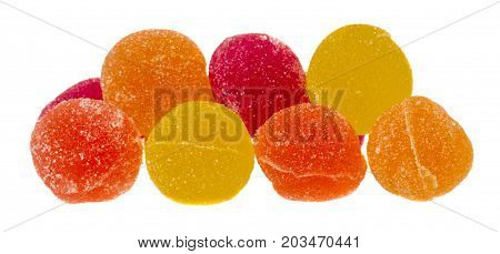 Marmalade Candy Balls on white Background .