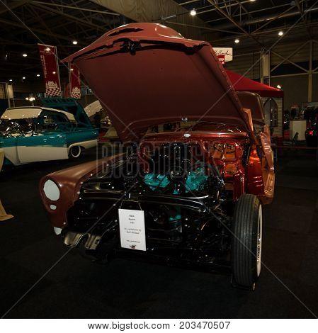 MAASTRICHT NETHERLANDS - JANUARY 09 2015: Partially restored car Buick Roadmaster Skylark 1953. International Exhibition InterClassics & Topmobiel 2015