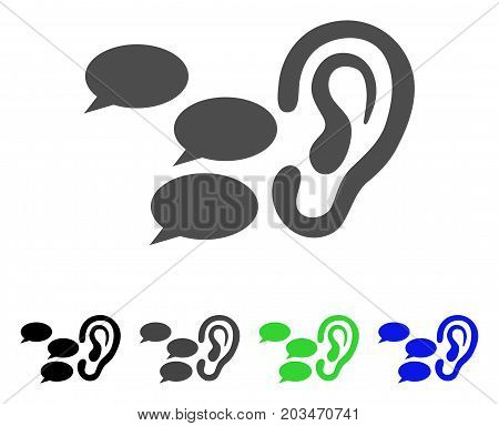Listen Gossips icon. Vector illustration style is a flat iconic listen gossips symbol with black, gray, green, blue color versions. Designed for web and software interfaces.