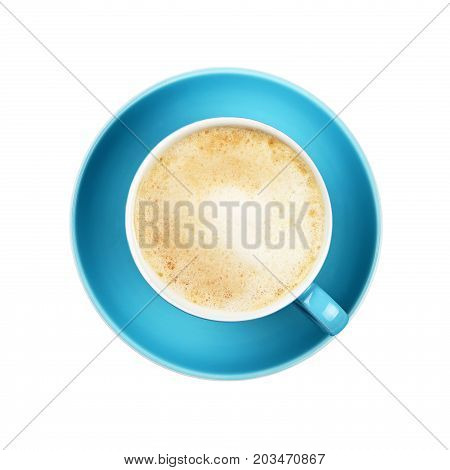 Full Cappuccino Latte Coffee In Blue Cup Isolated
