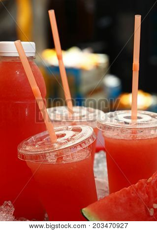 Fresh Squeezed Watermelon Juice In Plastic Cups