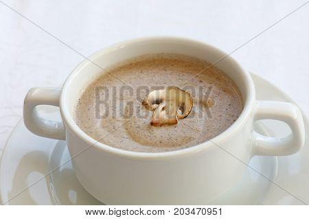 White Porcelain Tureen With Champignon Cream Soup