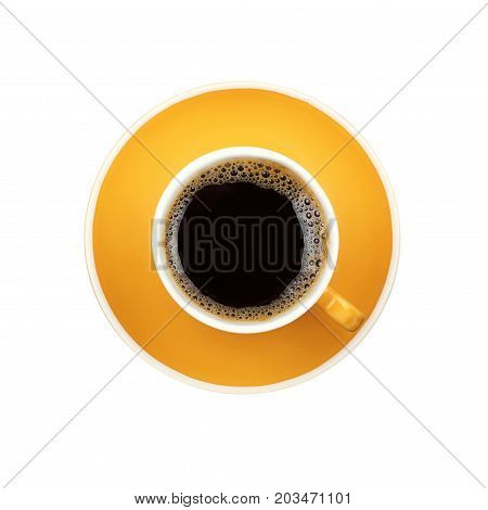 Americano Yellow Cup And Saucer Isolated On White