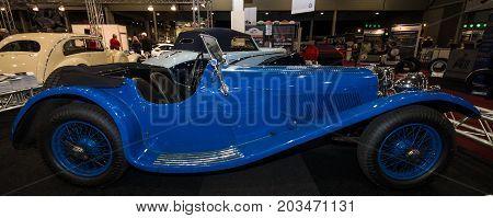 MAASTRICHT NETHERLANDS - JANUARY 09 2015: Sports car Jaguar SS90 1935. International Exhibition InterClassics & Topmobiel 2015