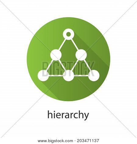 Hierarchy flat design long shadow icon. Team building and structure concept. Vector silhouette symbol