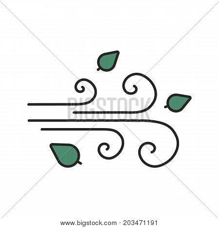 Wind blowing color icon. Windy weather. Isolated vector illustration