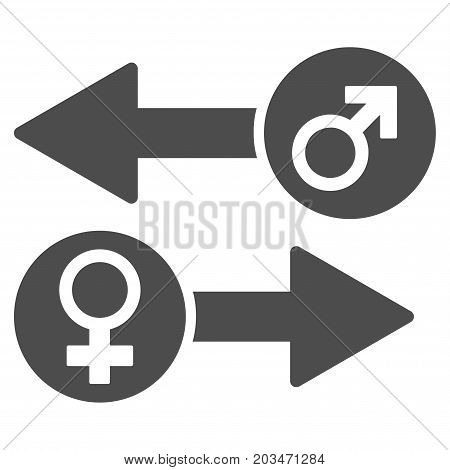 Gender Exchange vector pictograph. Style is flat graphic gray symbol.