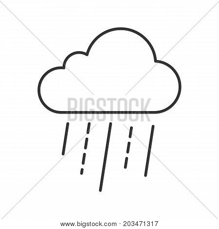 Rainy cloud linear icon. Autumn weather. Cold rainy weather. Bad mood contour symbol. Weather condition thin line illustration. Vector isolated outline drawing