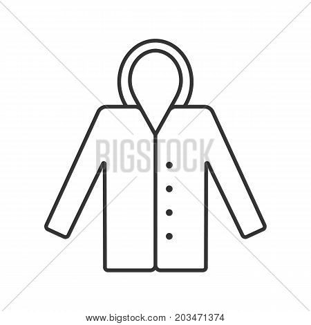 Raincoat linear icon. Hoody. Autumn outerwear contour symbol. Waterproof coat. Warm clothes thin line illustration. Vector isolated outline drawing
