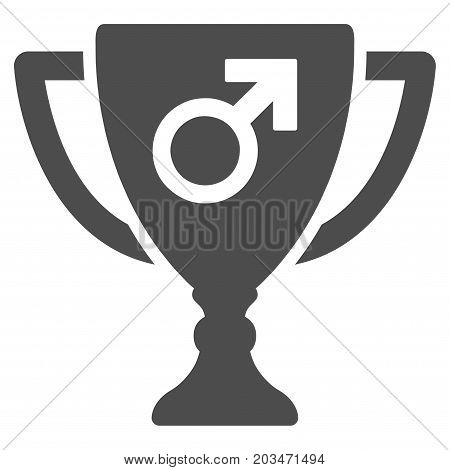 Male Power Award Cup vector pictograph. Style is flat graphic grey symbol.