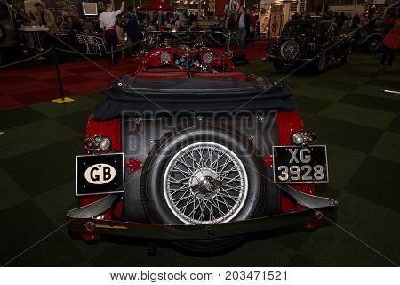 MAASTRICHT NETHERLANDS - JANUARY 09 2015: A sports car Jaguar SS1 Tourer 1934. Rear view. International Exhibition InterClassics & Topmobiel 2015