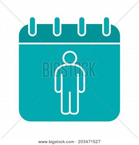 International Men's Day glyph color icon. Calendar page with man. Silhouette symbol on black background. Negative space. Vector illustration