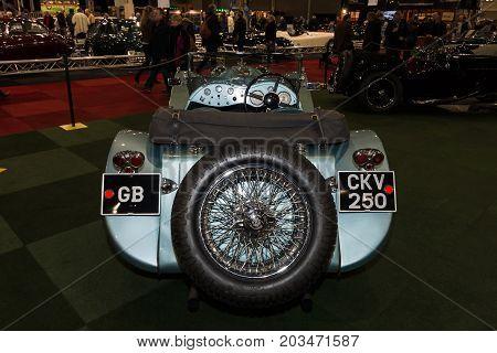 MAASTRICHT NETHERLANDS - JANUARY 09 2015: A sports car Jaguar SS100 3.5 1937. Rear view. International Exhibition InterClassics & Topmobiel 2015