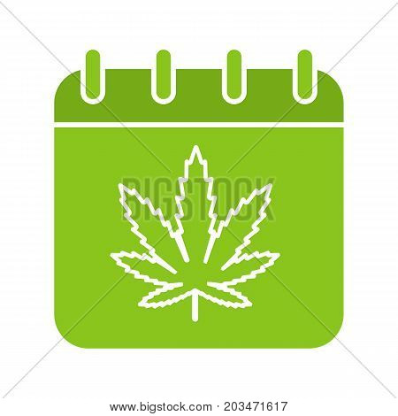 National Weed Day glyph color icon. Calendar page with marijuana leaf. Silhouette symbol on white background. Negative space. Vector illustration