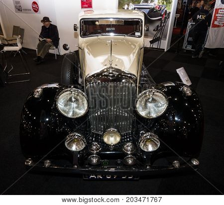 MAASTRICHT NETHERLANDS - JANUARY 09 2015: Oldtimer Bentley 4.5 Litre Sport Saloon 1937. Coachbuilder Mann Egerton. Design Razor Edge. International Exhibition InterClassics & Topmobiel 2015