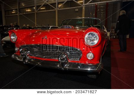 MAASTRICHT NETHERLANDS - JANUARY 09 2015: Personal luxury car Ford Thunderbird (first generation) 1955. International Exhibition InterClassics & Topmobiel 2015