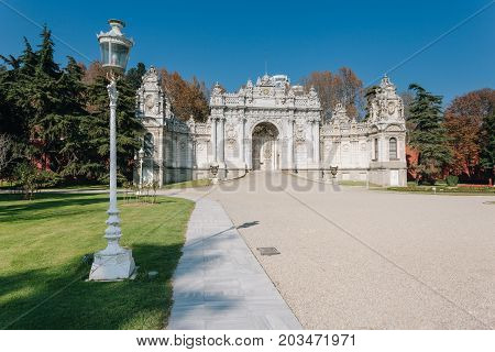 Exterior shot of Gate of The Sultan at Dolmabahce Palace. The Palace served as the main administrative center of the Ottoman Empire from 1856 to 1922