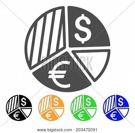 Currency Pie Chart icon. Vector illustration style is a flat iconic currency pie chart symbol with black, grey, green, blue, yellow color variants. Designed for web and software interfaces.