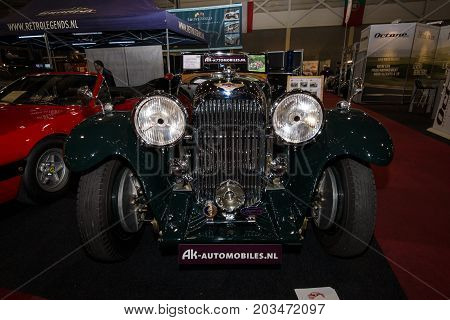 MAASTRICHT NETHERLANDS - JANUARY 08 2015: Oldtimer Lagonda M35 Rapide 1935. International Exhibition InterClassics & Topmobiel 2015