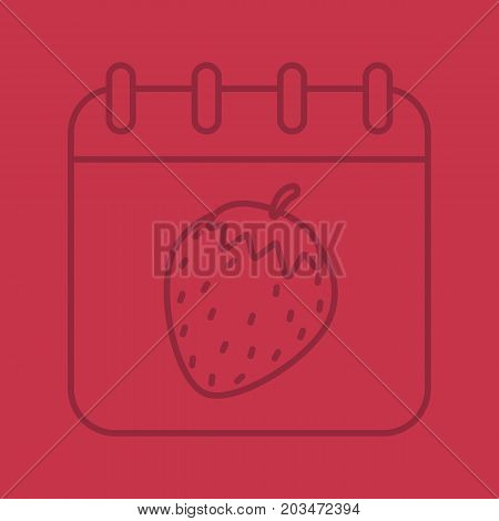 International sex day color linear icon. Calendar page with strawberry. Thin line outline symbols on color background. Vector illustration