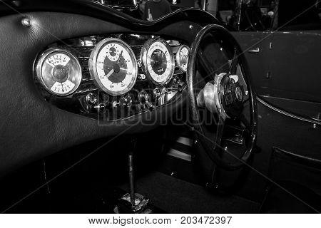 MAASTRICHT NETHERLANDS - JANUARY 09 2015: Cabin of a oldtimer MG VA Special nickname Denim 1939. Black and white. International Exhibition InterClassics & Topmobiel 2015