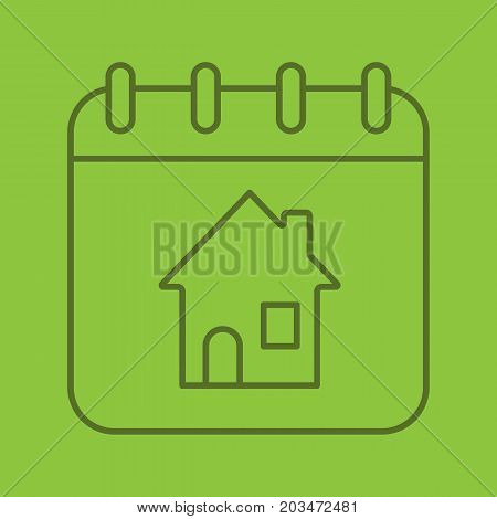 Home calendar color linear icon. Thin line outline symbols on color background. Calendar page with house inside. Rental apartment reservation date. Vector illustration