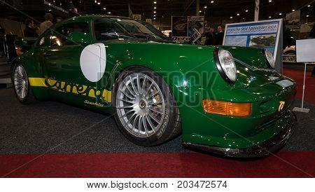 MAASTRICHT NETHERLANDS - JANUARY 09 2015: Sports car Porsche 964 Carrera. International Exhibition InterClassics & Topmobiel 2015