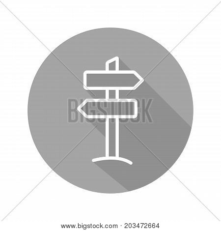 Signpost flat linear long shadow icon. Wooden way direction signpost. Vector outline symbol