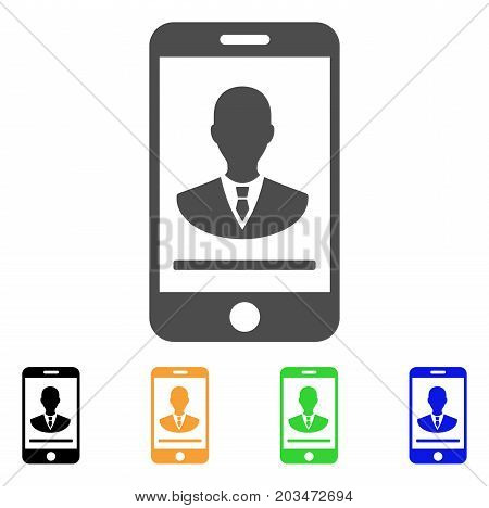 Mobile Manager Contact icon. Vector illustration style is a flat iconic mobile manager contact symbol with black, gray, green, blue, yellow color versions. Designed for web and software interfaces.