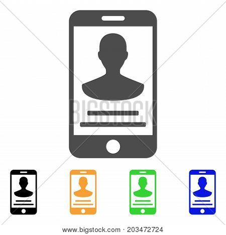 Mobile Person Details icon. Vector illustration style is a flat iconic mobile person details symbol with black, grey, green, blue, yellow color variants. Designed for web and software interfaces.