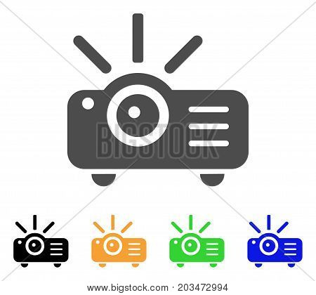 Projector icon. Vector illustration style is a flat iconic projector symbol with black, grey, green, blue, yellow color versions. Designed for web and software interfaces.