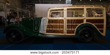 MAASTRICHT NETHERLANDS - JANUARY 09 2015: Oldtimer Rolls-Royce Phantom II Shooting Brake 1930. International Exhibition InterClassics & Topmobiel 2015