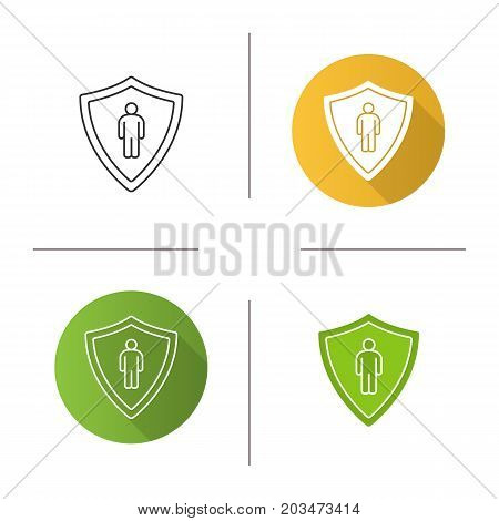 Bodyguard icon. Flat design, linear and glyph color styles. Man inside protection shield. Isolated vector illustrations