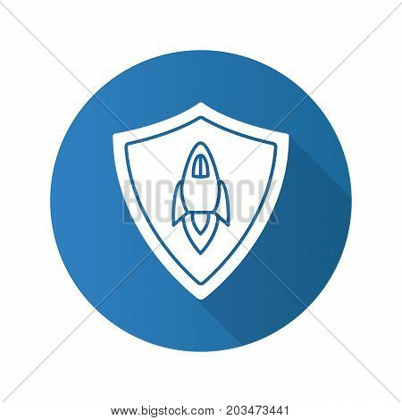 Startup projects protection. Flat design long shadow glyph icon. Security shield with spaceship. Vector silhouette illustration
