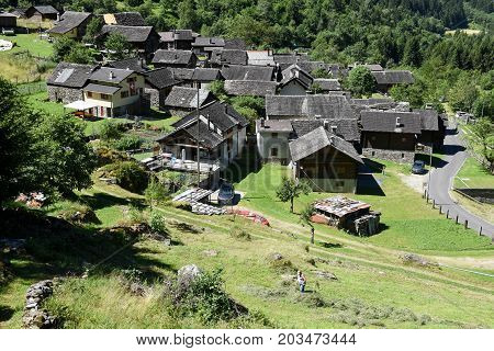 The Village Of Madra On The Swiss Alps