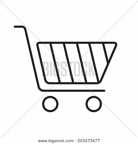 Shopping cart linear icon. Thin line illustration. Contour symbol. Vector isolated outline drawing