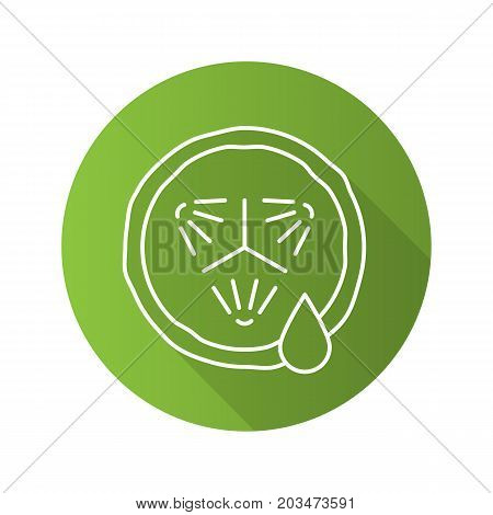 Cucumber slice with juice. Flat linear long shadow icon. Cucumber facial mask. Vector outline symbol