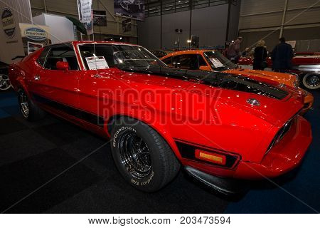 MAASTRICHT NETHERLANDS - JANUARY 09 2015: The muscle car Ford Mustang Mach 1 1973. International Exhibition InterClassics & Topmobiel 2015