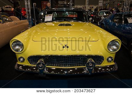 MAASTRICHT NETHERLANDS - JANUARY 09 2015: A personal luxury car Ford Thunderbird (first generation) 1955. International Exhibition InterClassics & Topmobiel 2015