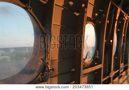The Cockpit Of The Old Plane. Abandoned Aircraft