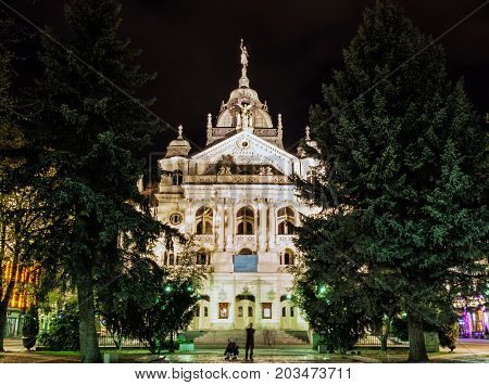 Famous State theater building in Kosice Slovak republic. Night photo. Architectural scene. Travel destination.