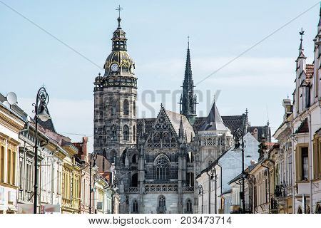 Spectacular St. Elisabeth cathedral in Kosice Slovak republic. Architectural scene. Travel destination.