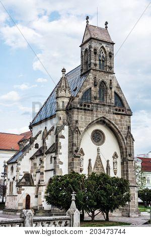 St. Michael chapel in Kosice Slovak republic. Architectural scene. Vertical composition.